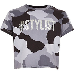 Girls grey camo sequin crop top