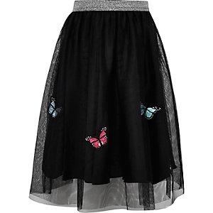 Jupe mi-longue noire en tulle motif papillon pour fille