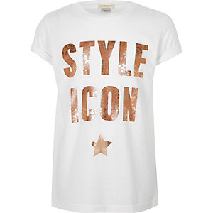 Girls white glitter print T-shirt