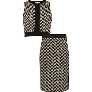 Ensemble jupe et crop top noir métallisé pour fille