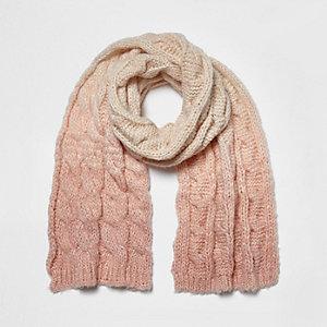 Girls pink ombré chunky knit scarf