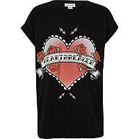 T-shirt imprimé Heartbreaker noir pour fille