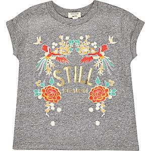 T-shirt à fleurs gris mini fille