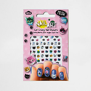 Girls Crazy Cat nail stickers