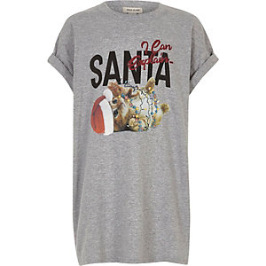 Girls grey Santa cat print Christmas T-shirt