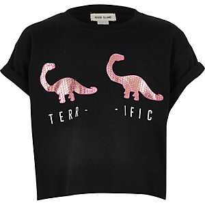 Girls black sequin dinosaur crop top