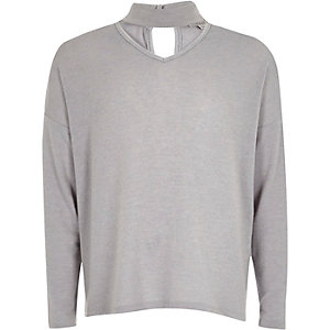 Girls grey knit choker jumper