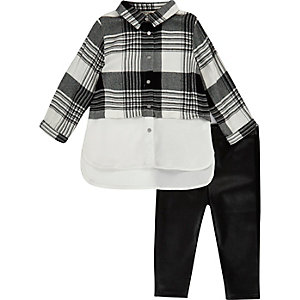 Mini girls mono check shirt leggings set