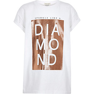 Girls white sparkly print T-shirt