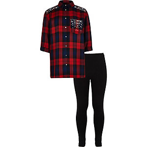 Girls red check shirt and legging set