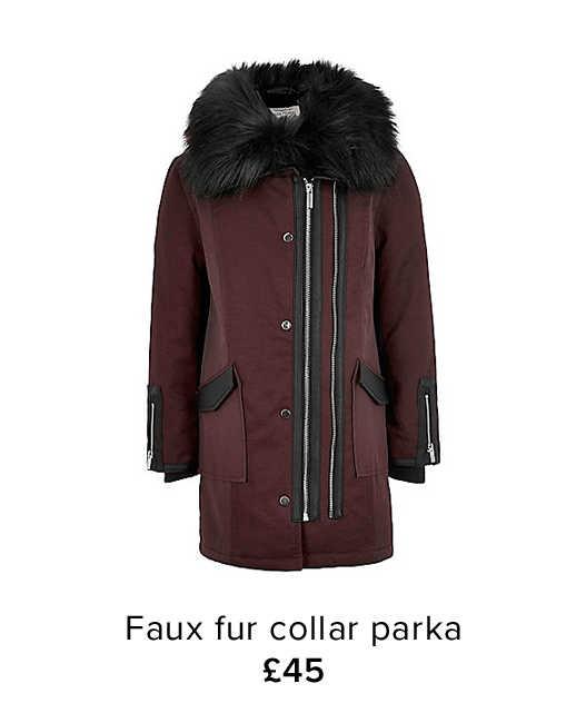 FUAX FUR TRIM LONGLINE COAT