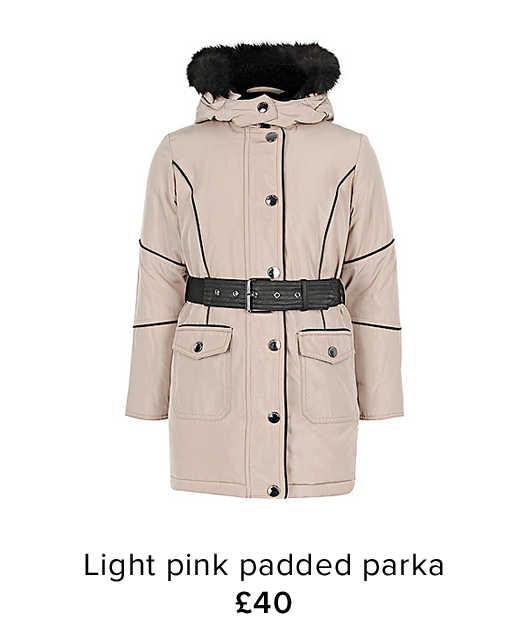 GIRLS LIGHT PINK PADDED PARKA