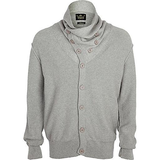 Grey diagonal button cowl neck cardigan