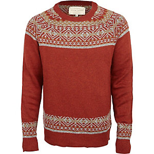 Rust long sleeve fairisle jumper