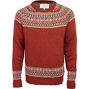 Rostroter, langärmliges Pullover im Fairisle-Design