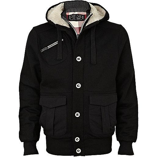 Black fleece lined sweatshirt jacket