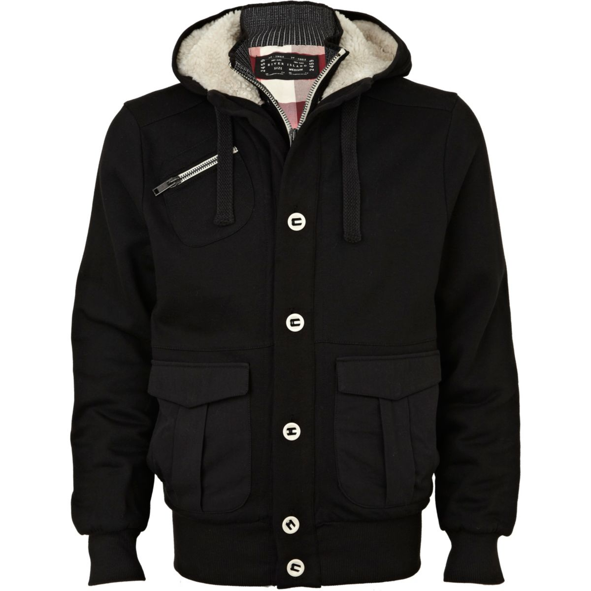 Black fleece lined sweatshirt jacket