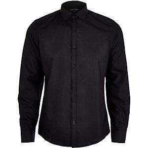 Schwarzes Poplin-Hemd