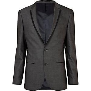 Grey contrast slim suit jacket