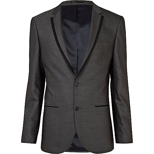 Grey contrast slim suit jacket - suits - sale - men
