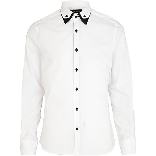 White double collar contrast shirt
