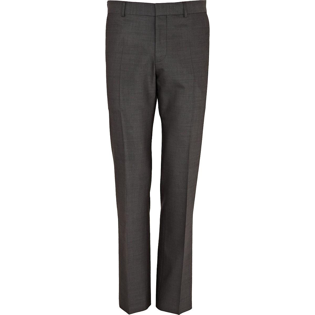 Grey wool-blend slim suit pants