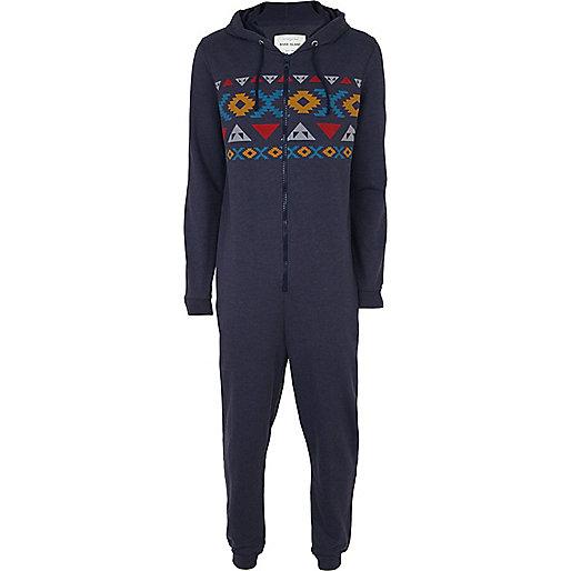 Mens blue aztec hooded onesie