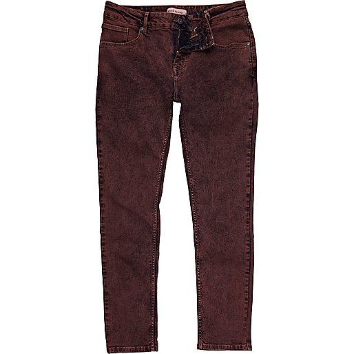 Burgundy acid wash Sid stretch skinny jeans
