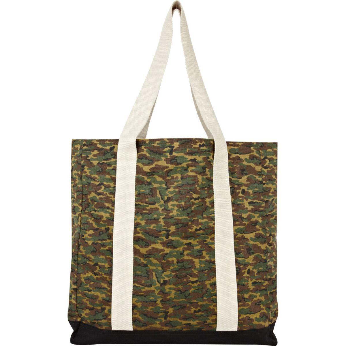 Green camo shopper bag