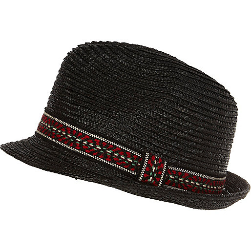 Black aztec band trilby hat