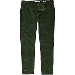 Green corduroy stretch skinny trousers