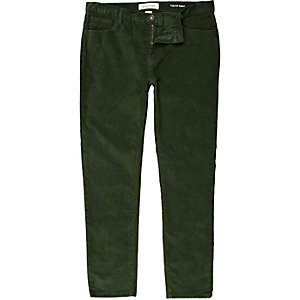 Green corduroy stretch skinny pants