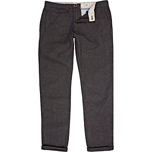 Dark grey plaid casual trousers
