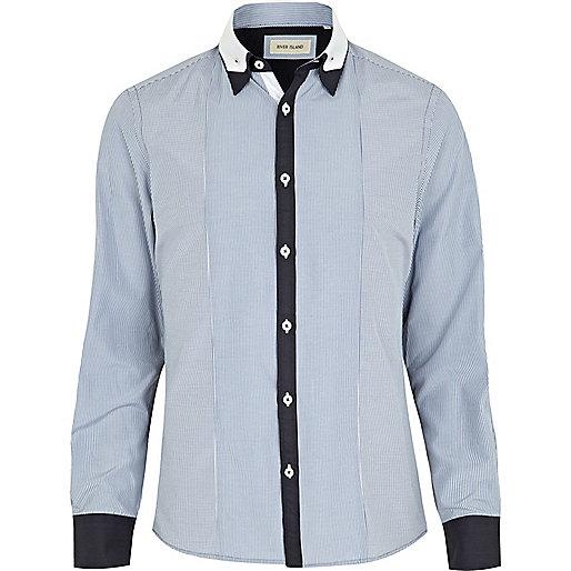 Blue contrast placket double collar shirt