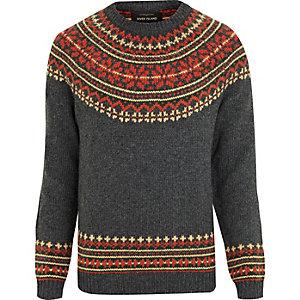 Dunkelgrauer Pullover im Fairisle-Design