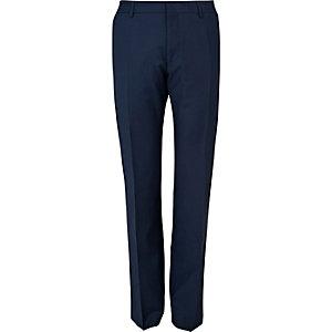 Blue wool blend slim suit trousers