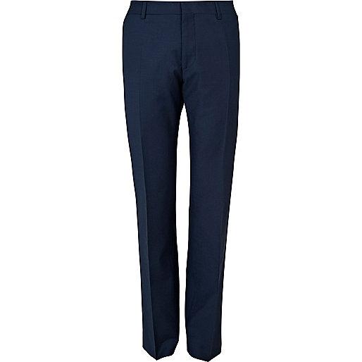 Blue wool blend slim suit pants