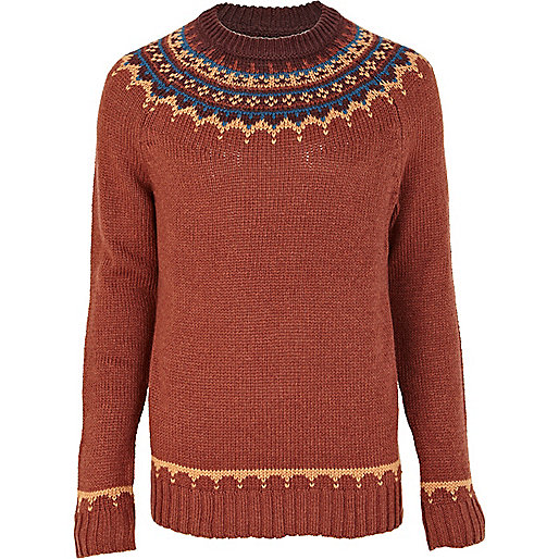 Rust fairisle yoke sweater