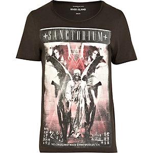 Dark grey Sanctorium print t-shirt