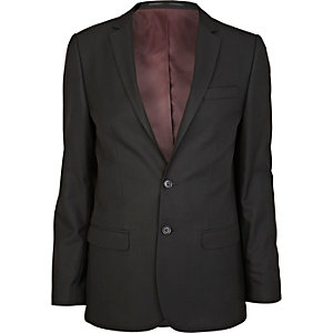 Black smart woven skinny suit jacket