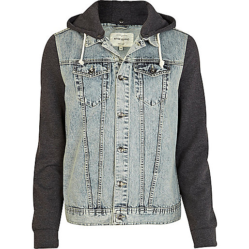Grey jersey and denim jacket - coats / jackets - sale - men