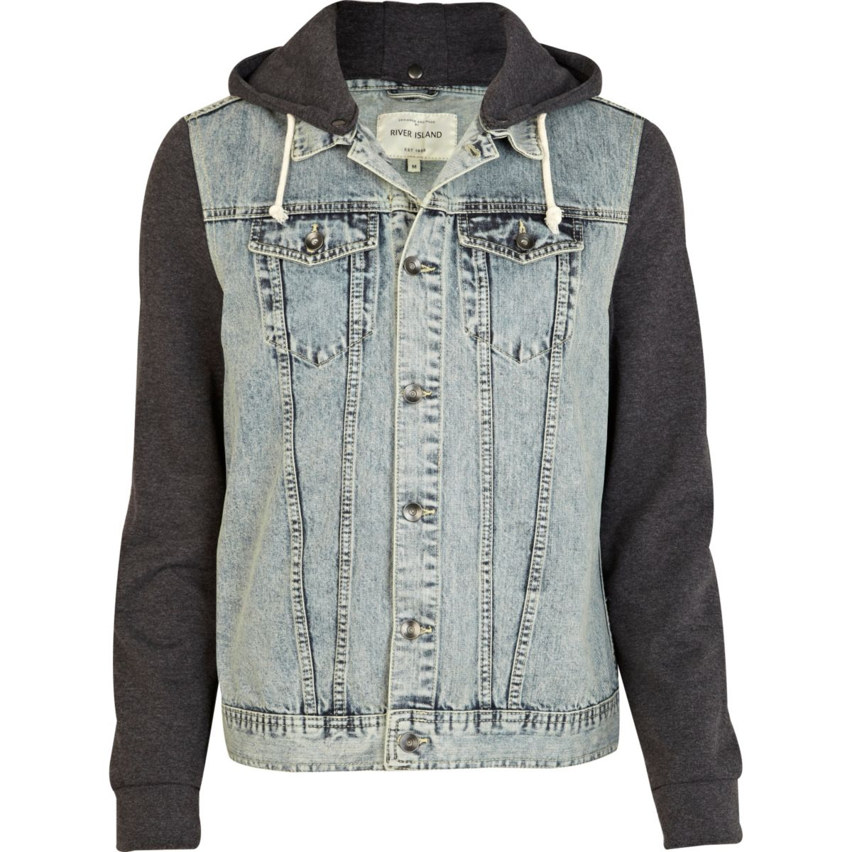 Grey jersey and denim jacket
