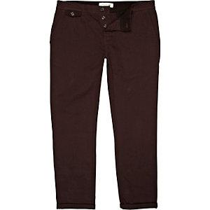 Pantalon chino bordeaux coupe slim à revers