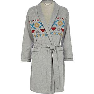 Grey aztec print jersey dressing gown