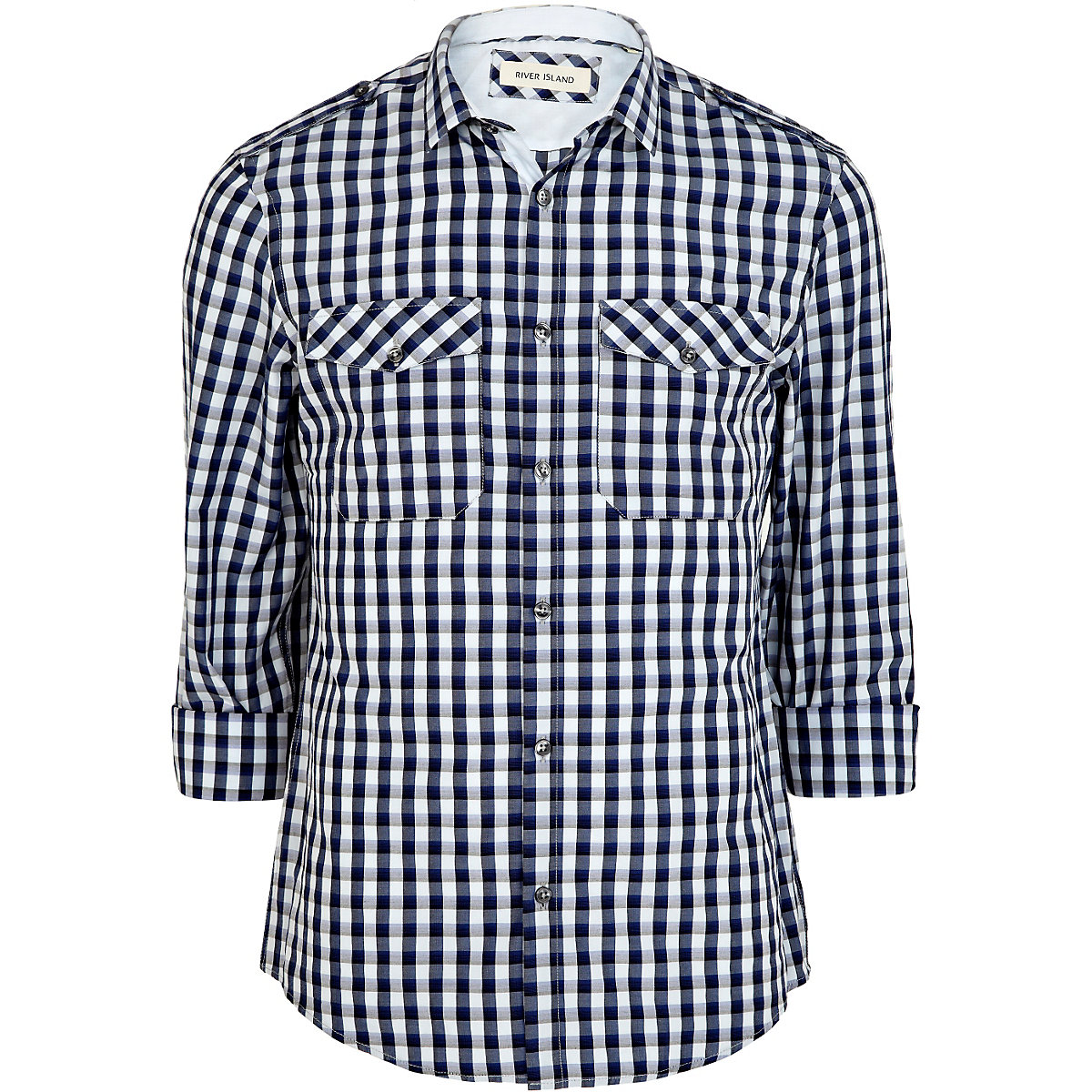 Blue check mini collar military shirt
