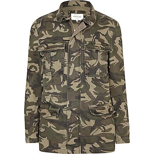 Khaki green camo print field jacket