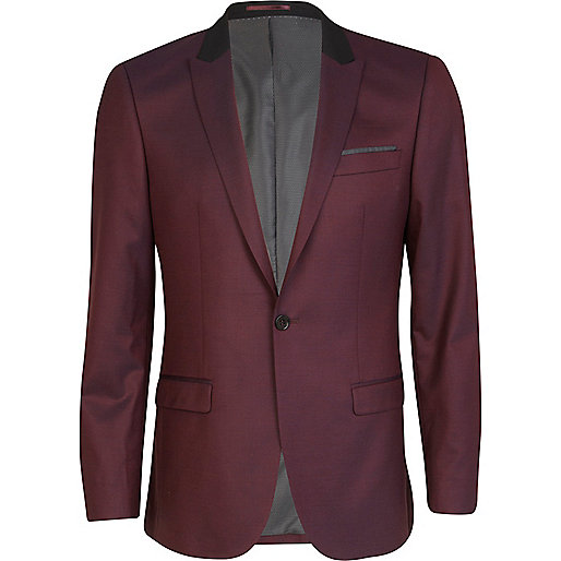 Purple slim fit contrast collar suit jacket