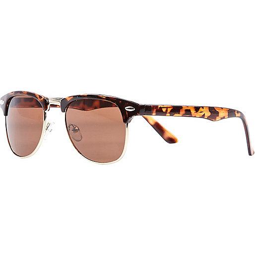 Brown print retro sunglasses