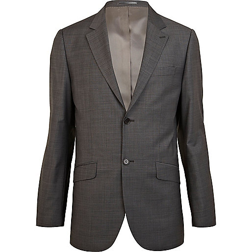 Grey classic fit smart suit jacket