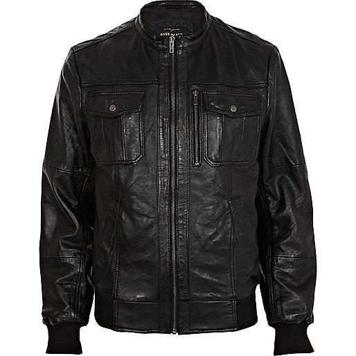 Black leather collarless utility jacket